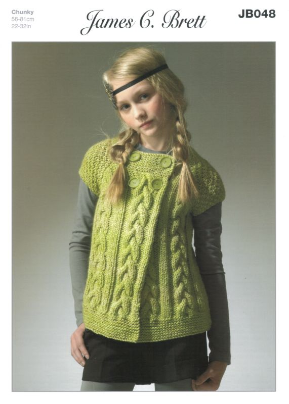 James C Brett Marble Chunky Childs Cardigan Knitting Pattern JB048