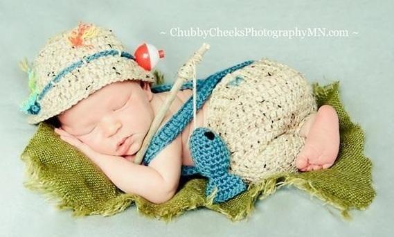 Baby Fishing Outfit | Fishing | Crochet baby, Newborn crochet, Baby