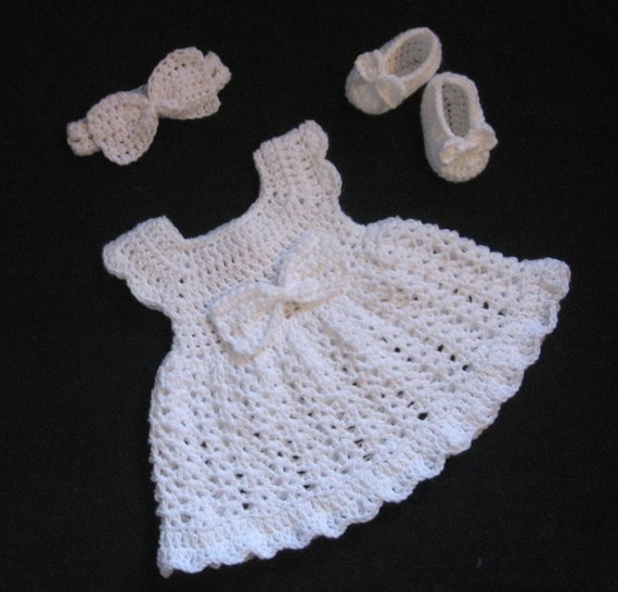 Baby Girl Christening Set White Baby Dress Set Crochet Baby | Etsy