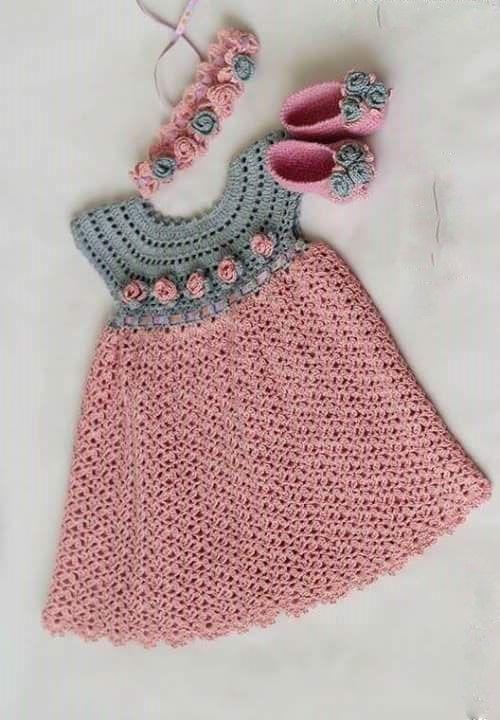 See that beautiful dress for girls. pink. crochet yarn. | Crochet