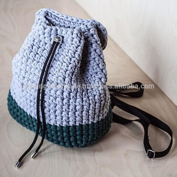 Backpack Knitted Gray Macrame Crochet Bag - Buy Hand Crochet