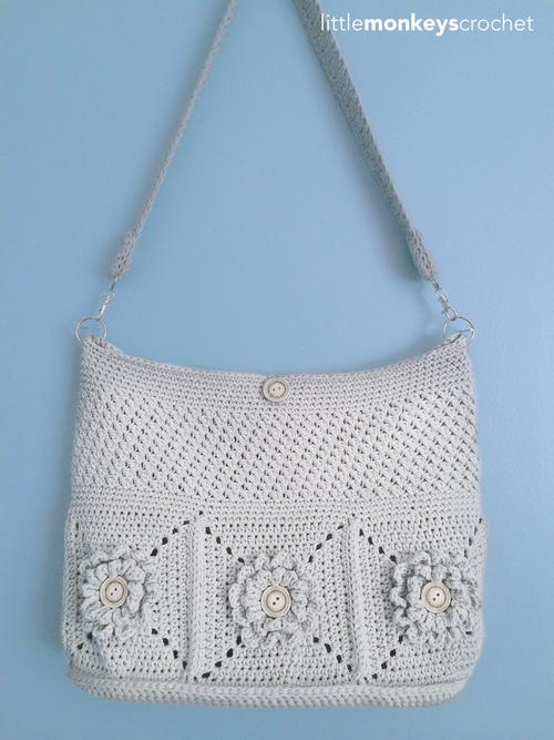 Wildflower Shoulder Crochet Bag | AllFreeCrochet.com