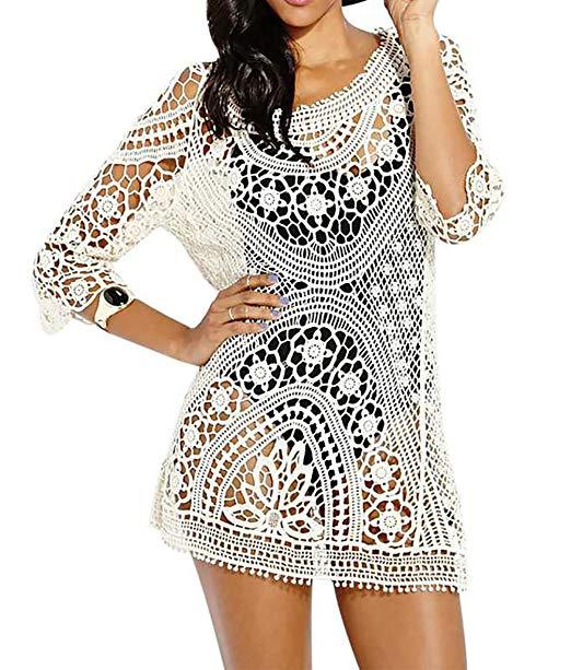 Bestyou® Women's Long Sleeve Lace Crochet Bikini Cover up Tunic