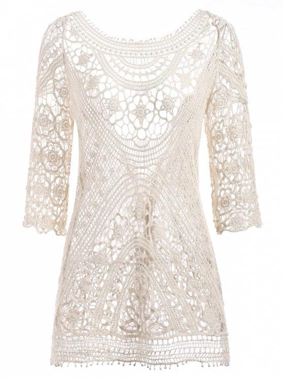 2019 Crochet Beach Dress In WARM WHITE ONE SIZE | ZAFUL