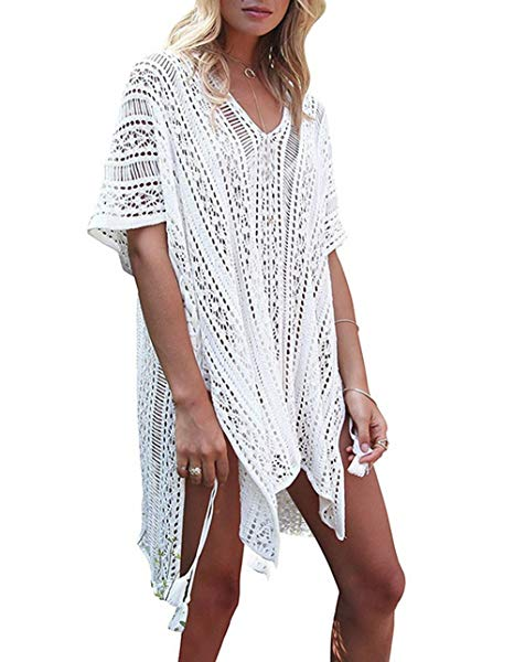 GeLivable Women's Bathing Suit Cover Up Swimwear Sleeve Crochet