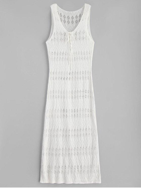 2019 Side Slit Maxi Crochet Beach Dress In WARM WHITE ONE SIZE | ZAFUL
