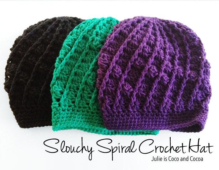 Slouchy Spiral Crochet Hat Pattern - Julie Measures