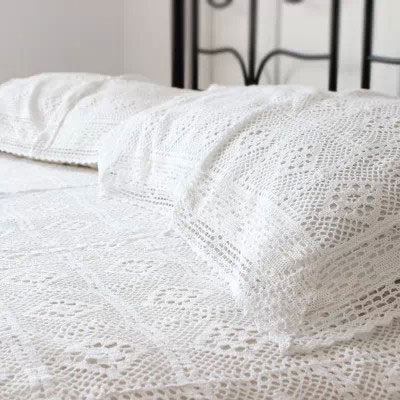 100% Cotton Handmade Crochet Bedspread With Pillowcases Crocheted