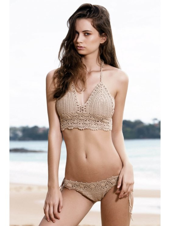 2019 Tie Side Crochet Bikini Set In KHAKI ONE SIZE(FIT SIZE XS TO M