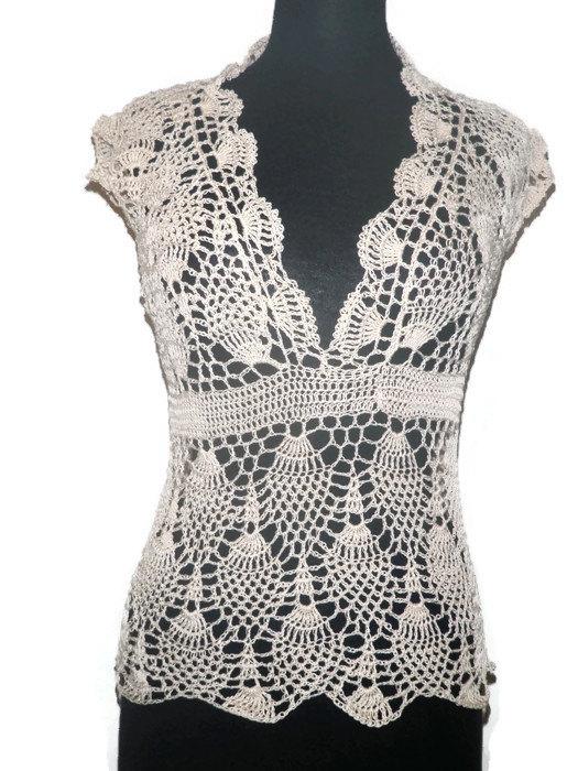 Lace crochet pineapple top, summer crochet blouse | favorite crochet