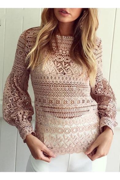 Fashionable Round Neck Puff Sleeve Plain Crochet Blouse