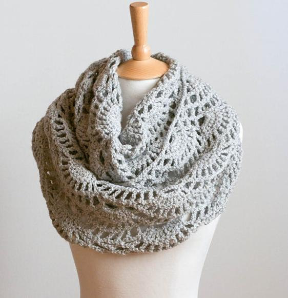 CROCHET PATTERN instant download - Lacy Grey Cowl - gray intricate