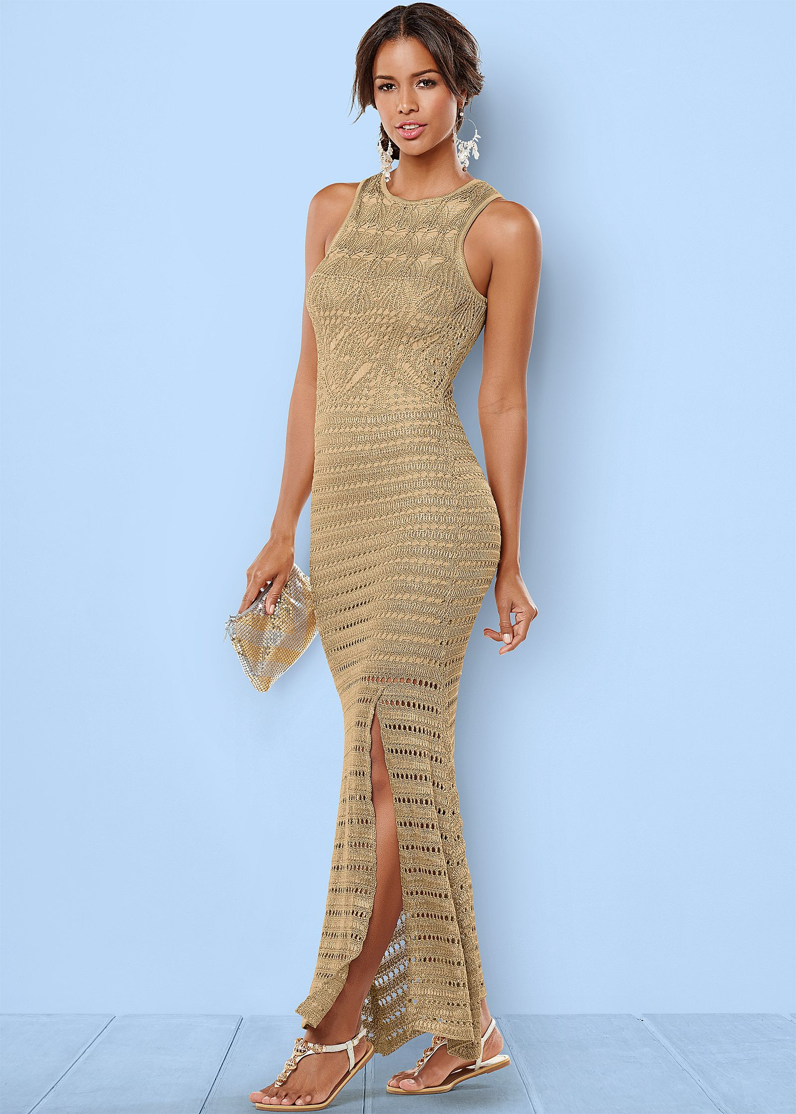 Gold Multi GOLD CROCHET SWEATER DRESS | Trends | Venus