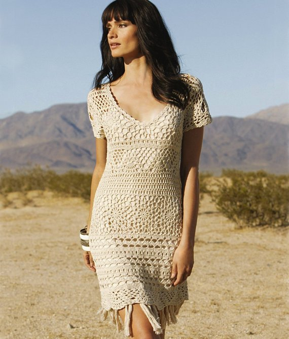 V-neck crochet dress PATTERN (sizes S-2XL), crochet TUTORIAL in