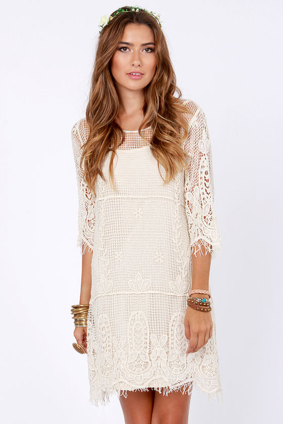 Pretty Cream Dress - Crochet Dress - Shift Dress - $72.00