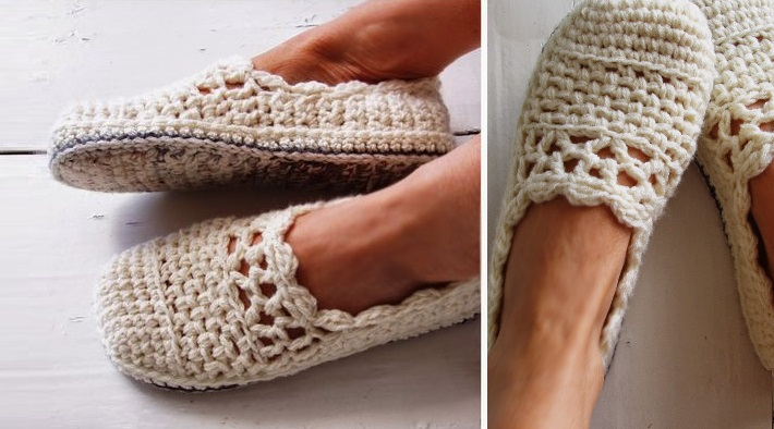 Lacy Crochet Slippers (Free Pattern)