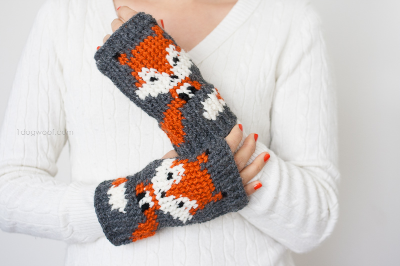 Fox Fingerless Gloves Crochet Pattern - One Dog Woof