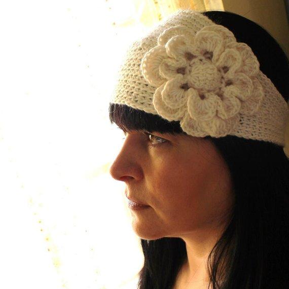 PATTERN - Crochet Pattern Headband/Headwrap With Flower Mesh Photo