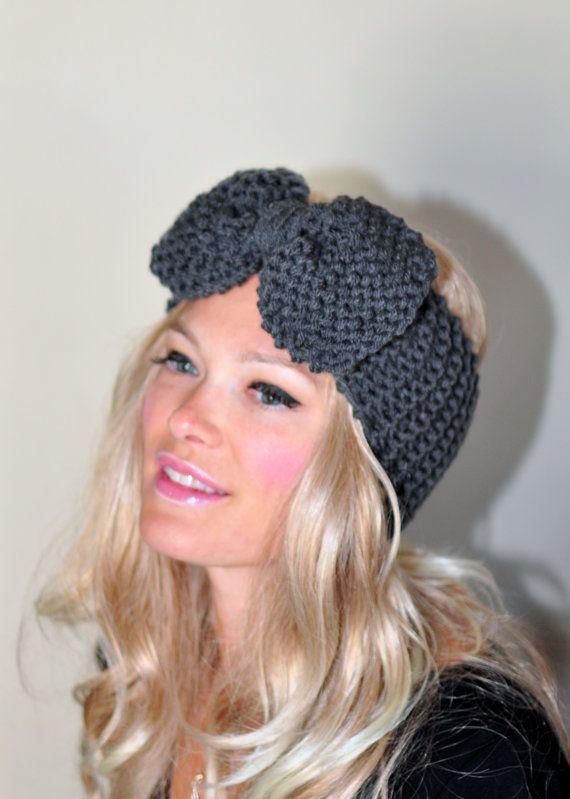 Big Bow Ear Warmer Crochet Headband Turban Head wrap by lucymir