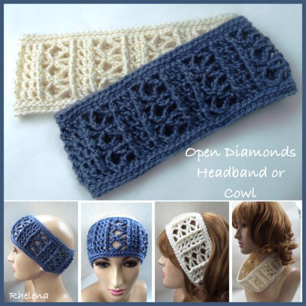 Wide Crochet Headband - Open Diamonds - CrochetN'Crafts