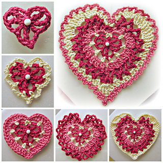 Ravelry: Build-a-Heart, Lacy Crocheted Heart Applique or Ornament