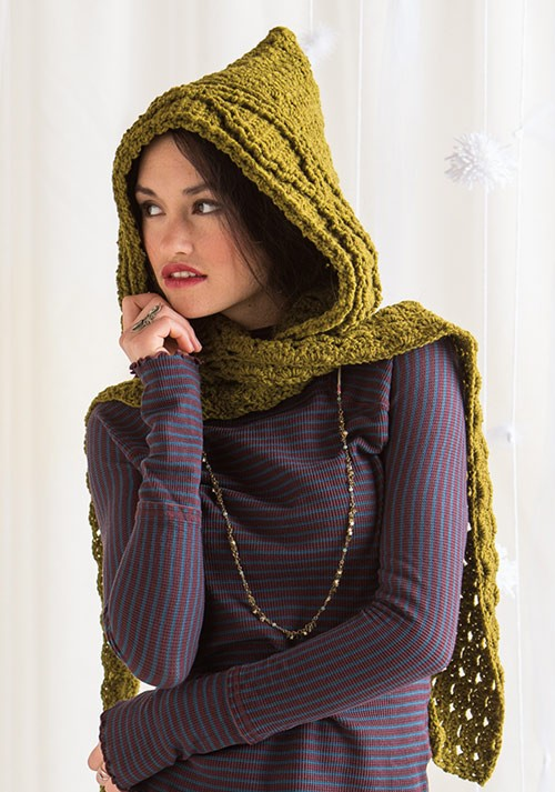 Green Mountain Spinnery Hooded Scarf Crochet Pattern Download