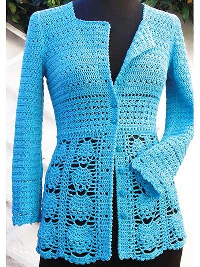 Crochet Cardigan & Vest Patterns - Blue Lace Jacket Crochet Pattern