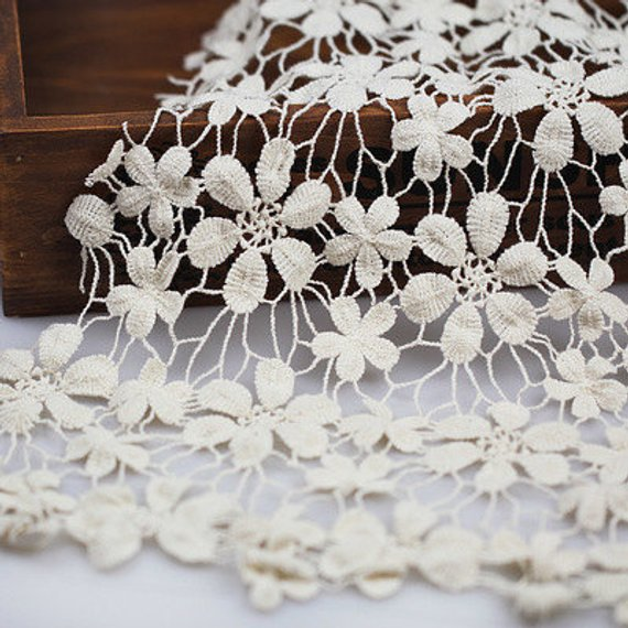 Cream Cotton Crochet Lace Fabric Floral Lace Fabric Ivory | Etsy