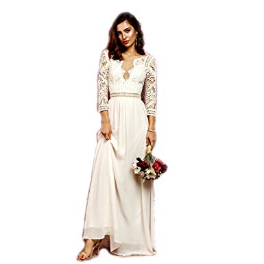 Amazon.com: Crazy4Bling Soieblu, Ivory Crochet Maxi Dress with Cut