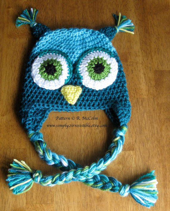 Owl Hat Pattern - us and uk Terms Available - Crochet Pattern 1