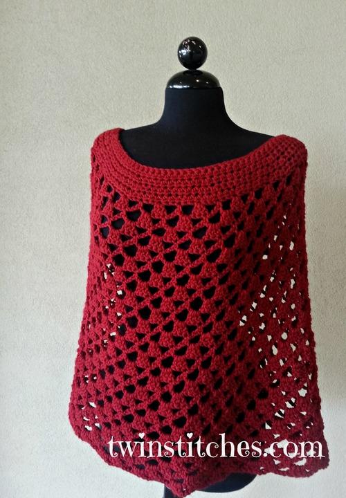 Scarlett Spiral Crochet Poncho | AllFreeCrochet.com