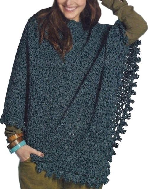 Crochet poncho PATTERN, warm asymmetrical boho crochet poncho