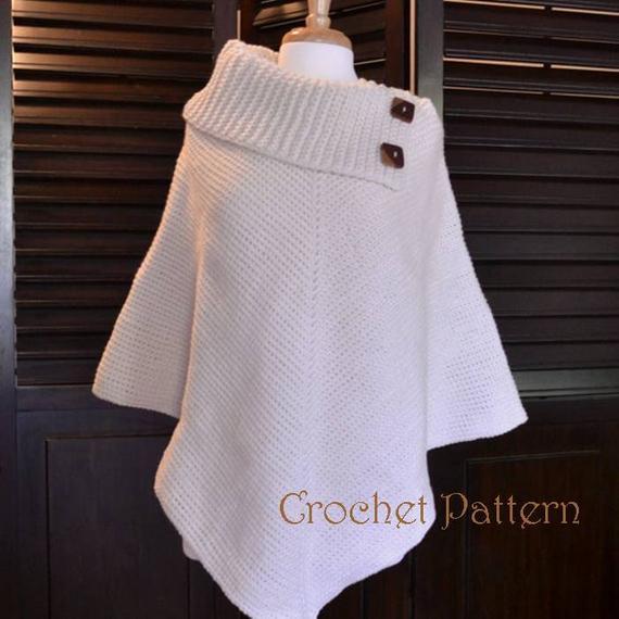 Crochet Poncho Pattern Cowl Neck Poncho Womens Poncho | Etsy