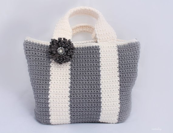 Crochet simple tote bag pattern Bicolor bag Crochet purse | Etsy