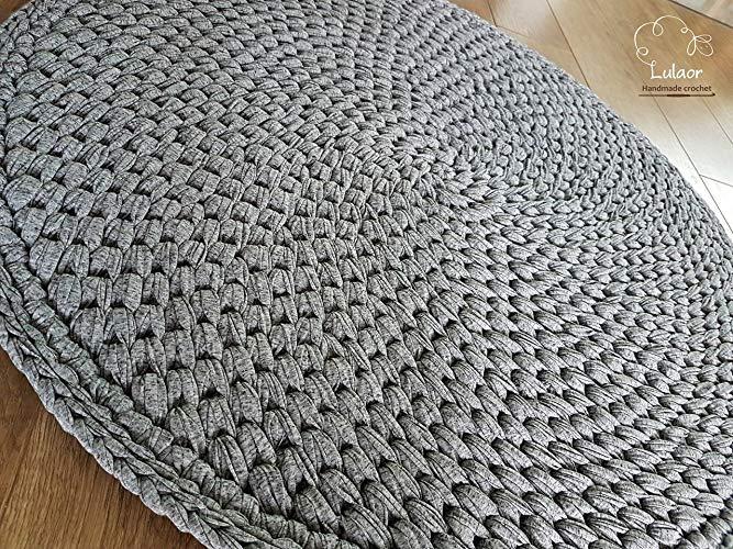Amazon.com: Crochet round rug, t shirt yarn rug, small rug, round
