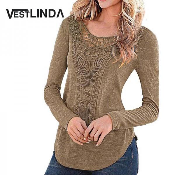 Vestlinda Ethnic Boho Blouse Crochet Shirt Long Sleeve Tops Casual