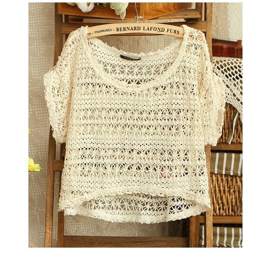 Kawaii Cute Short Sleeved Hollow Out Crochet T-shirt Tops on Luulla