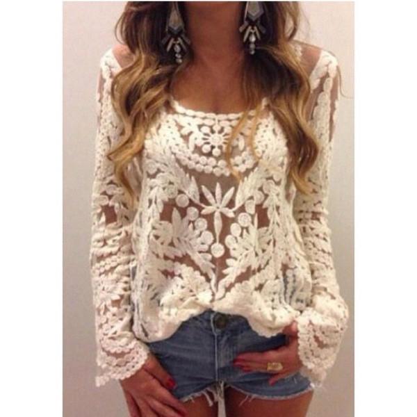 Crochet Lace T Shirt Floral Top Women from Bling Bling Deals