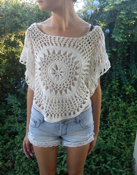 shirt, shorts, lace, knit, crochet, crop tops, see through, summer