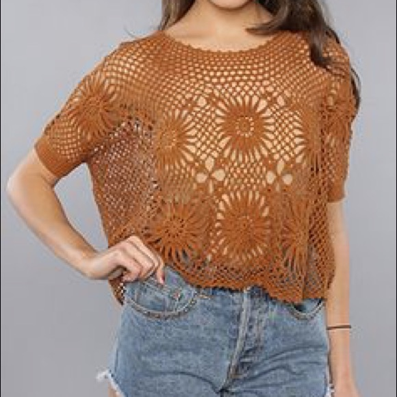 Free People Tops | New Romantics Crochet Shirt | Poshmark
