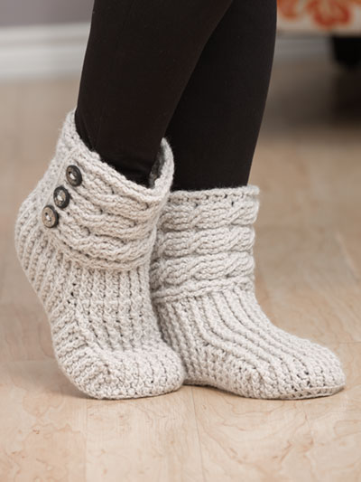 Crochet Slipper Patterns - Crochet-Knit Casual Slippers Crochet Pattern