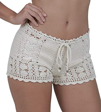 M&B USA Casual Shorts Cotton Crochet Lace Shorts Beach Summer