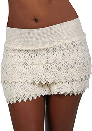 PURE COTTON Women's Lace Shorts Casual Cotton Crochet Summer Beach