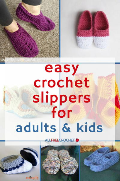 49 Easy Crochet Slippers for Adults and Kids | AllFreeCrochet.com