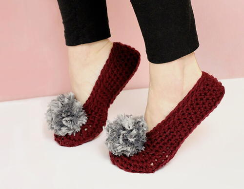Pom Pom Crochet Slippers for Adults | FaveCrafts.com