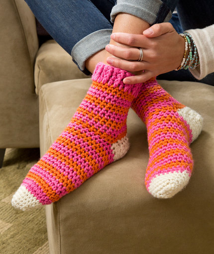 Cozy at Home Crochet Socks | Red Heart