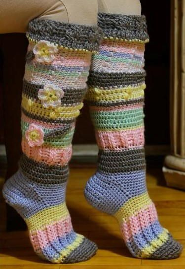 Colorful Knee High Socks | Free Crochet Socks and Slipper Patterns