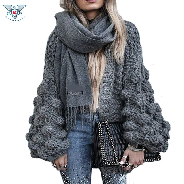 2019 Autumn&Winter Knitted Crochet Sweater for Women Chunky Oversize