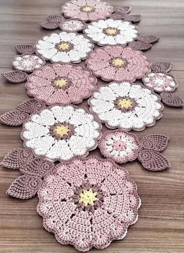 Crochet Table Runner, सूती टेबल रनर - Reeva Fashions