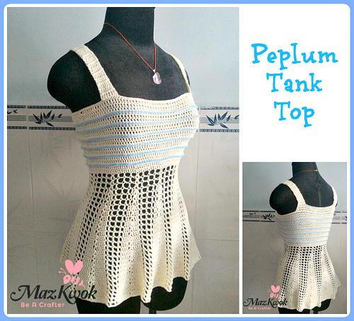 Peplum Tank Top | AllFreeCrochet.com
